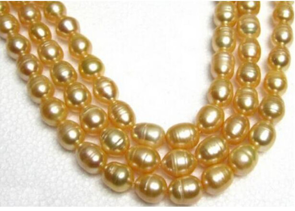 FREE SHIPPING++ 35 INCH HOT 13MM NATURAL SOUTH SEA GOLDEN PEARL NECKLACE