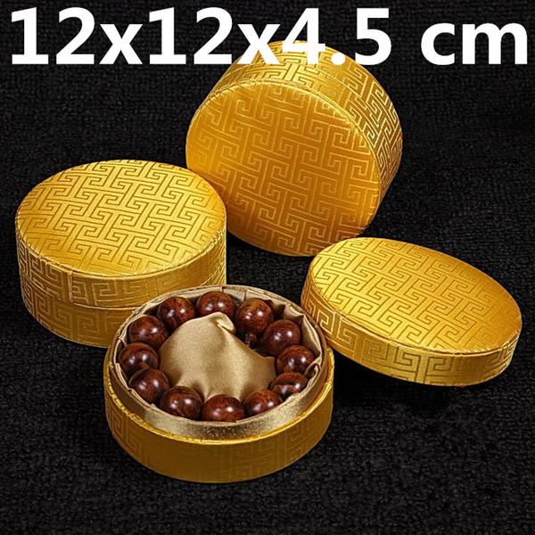 Soft Plain Round Chinese Silk Fabric Box Craft Luxury Jewelry Gift Box Men Bracelet Case Silk Brocade Women Bangle Storage Box 11x11x4.5 cm