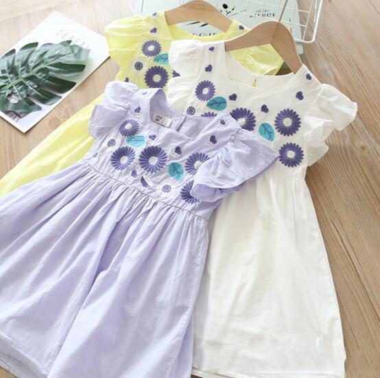 Neue Mädchen Kinder Kleidung elegantes Kleid runder Kragen ärmellose Emboridery Blumenmädchen Kinder Kleid charmante gefaltete Mädchen Kleid