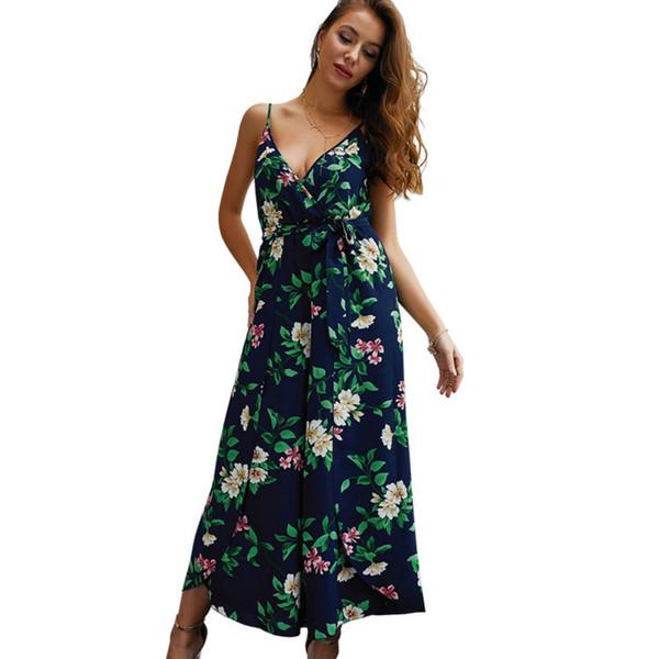 Hot Sale Summer Women Jumpsuit Beach Style V-neck Split Floral Printed Straps Sleeveless Jumpsuit