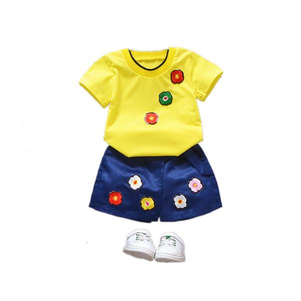 Verano de los bebés Ropa para niños de la moda t camisa bordada shorts 2pcs / conjuntos de ropa del niño ocasional del juego de los niños del traje de excursión