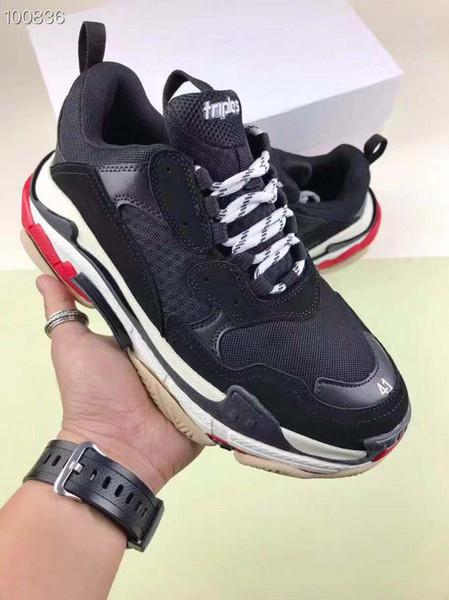 Homens Mulheres Sapatos Casuais Moda Designer De Luxo Tênis Paris 17FW Triplo-S Pai Sapato Bordado Schuhe Grossa Plataforma 8 Camada Sola