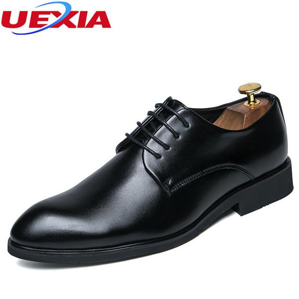 Uexia moda respirável sapatos casuais lace-up para homens de couro vestido de casamento anti skid trabalho de negócios dedo apontado trabalho tornozelo partido