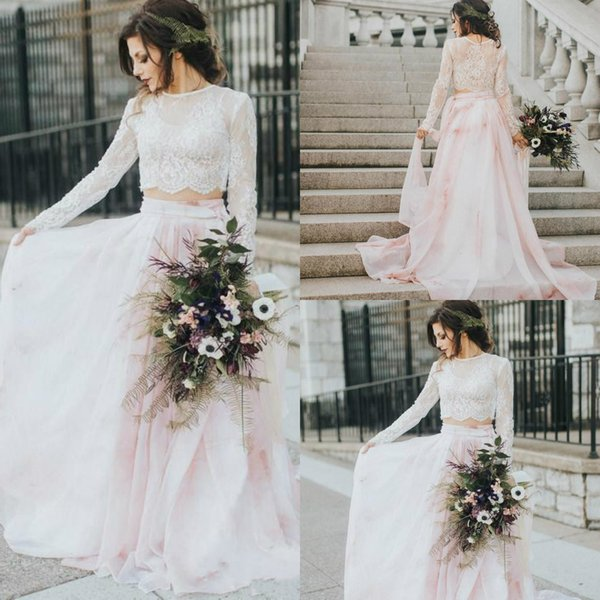 two pieces 2019 summer beach wedding dresses long sleeve lace appliques blush a line boho bridal gowns vestido de novia