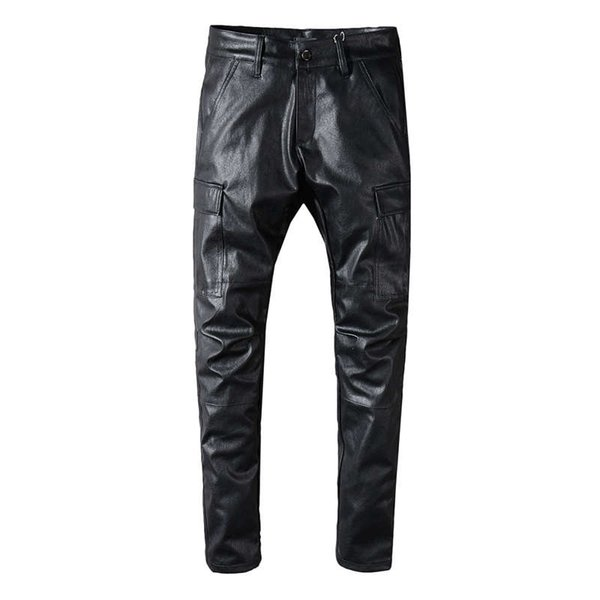 Brand Man Leather Pants Fashion Mens PU Leather Trousers High Elastic Man Motorcycle Cargo Pockets Pants Washed Black Skinny Jeans For Men