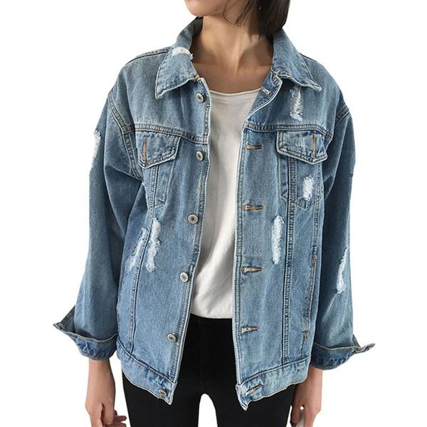 Jeans Jacket Women Casacos Feminino Slim Ripped Holes Denim Jacket Femme Elegant Vintage Bomber 2018 Basic Coats