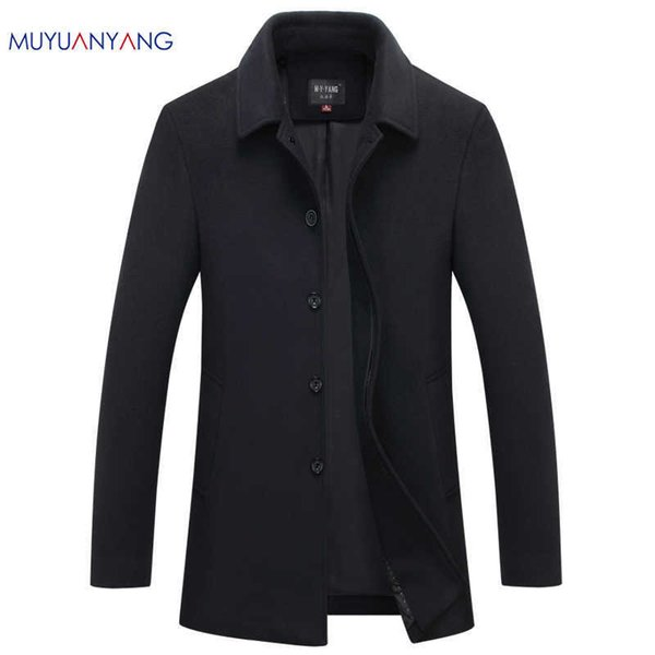Mu Yuan Yang Herbst Winter Einreiher Wollmäntel 50% Rabatt auf Herren Wolljacken Umlegekragen Wollmischungen Mantel J190430