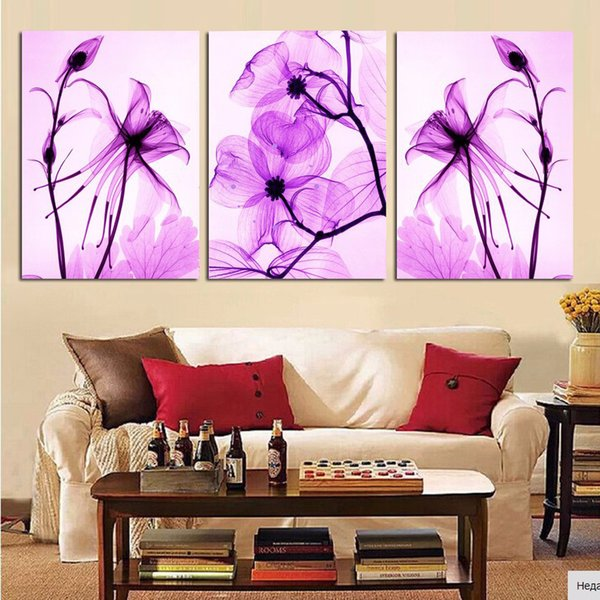 Unframed 3 Pcs abstract purple Flower Modern Large HD Print Canvas Painting Art Picture For Living Room Home Wall Art Decor