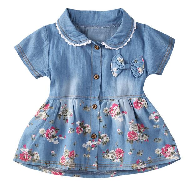 Baby Girl Dress Summer Children Short Sleeve Christmas Girls Denim Floral Dresses Kids Princess Bowknot Flower Dress