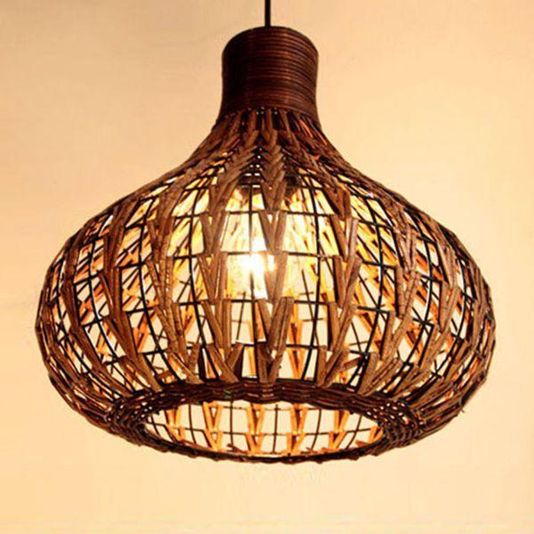 Acheter Nouveau Style Chapeau De Paille Pendentif Lumières Ados Chambre Décoration Salon Café Bar Suspension Lampe Art Déco Led éclairage De 53 27