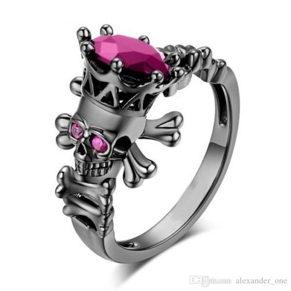 Brand Punk Jewelry Skull Crown ring 10KT Black Gold Filled redy Sapphire Cocktail Wedding Bands Ring for Women Men Size 5-10