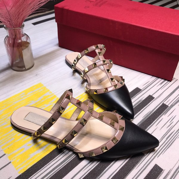 CAVEAT! Summer new discount designer high quality women's flat shoes leather women's sandals fashion ladies shoes yi190404
