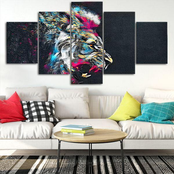 Acquista Abstract Lion Canvas Poster Home Decor Wall Art Quadro 5 Pezzi  Quadri Soggiorno HD Stampa Immagini Moderne A $21.69 Dal Niartwork | ...