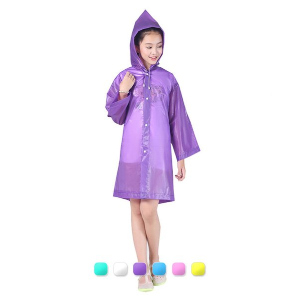 6 colores para niños EVA impermeable impermeable impermeable capa con capucha exterior senderismo poncho impermeable impermeable abrigo de viento equipo de camping