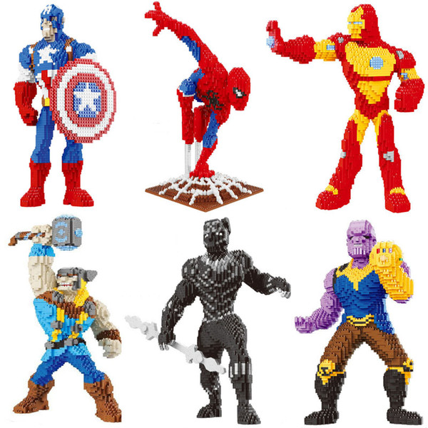 SJ movie avengers black panther Spiderman thor Captain America Iron Man super hero building block action figures educational toy