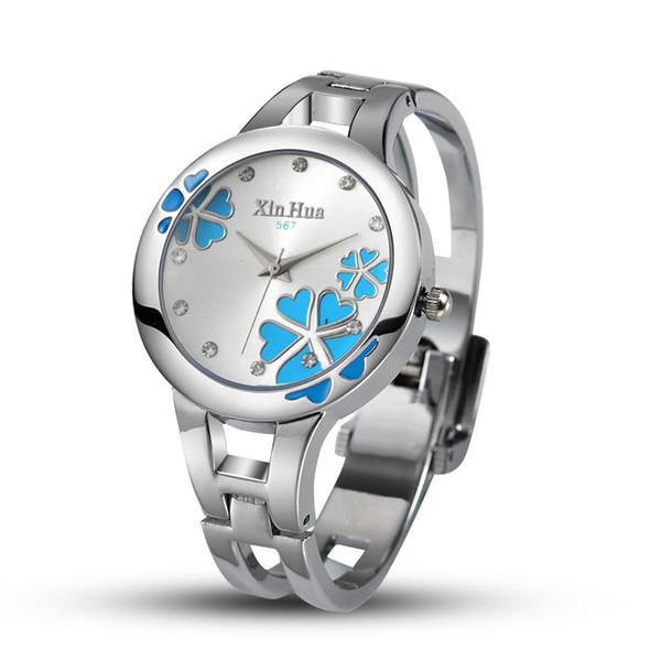 clock female Relogios Feminino XINHUA Women Watches Stainless Steel Bracelet Bangle Quartz Watches Rhinestone Designer Female Clock Saati
