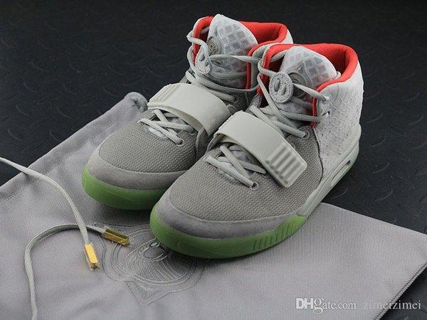 Лучшее качество Air Yee 2 Platinum Wolf Серый Чистая платина 508214 010 Kanye West кроссовки Спортивная обувь с оригинальной коробке