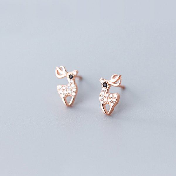 Gioielli MloveAcc Natale cervi orecchini per le ragazze del partito Accessori argento 925 animale antler orecchino di Lady Fashion