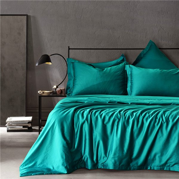 2019 New Arrival Long-Staple Cotton Queen Size Light Green Beddingset Printed 3 PCS(1 Duvet Cover+2 Pillowcases) Blue Bedding Cover Suits