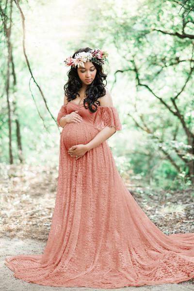 Chcdmp New Lace Elegante Maternidade Vestido de Fotografia Vestidos Longos Mulheres Grávidas Roupas Fantasia Gravidez Foto Adereços Atirar Q190521