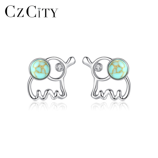 CZCITY Real 925 Sterling Silver Turquoise Small Cute Elephant Stud Earrings for Women Fine Jewelry Pendientes Plata Gifts SE0402