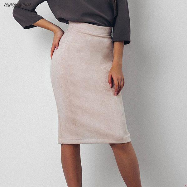 Suede Vintage Split Lady Skirt Women Winter High Waist Knee-Length Pencil Skirts Elegant Office Bodycon Skirt Jupe Femme