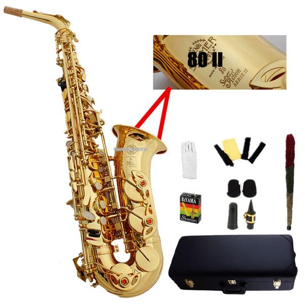 Francia Selm SAS 802 saxofón alto Eb sax Electroforesis de oro saxofone profesional instrumentos musicales boquilla Cajas duras