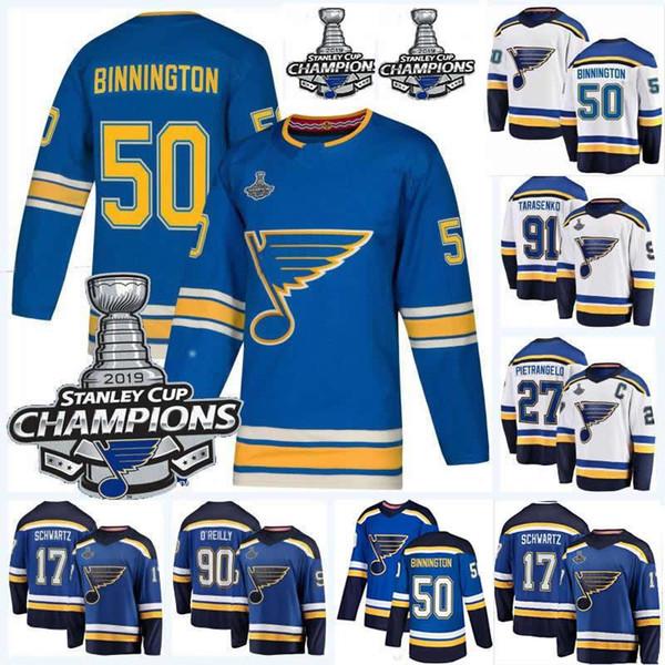 Finale de la Coupe Stanley 2019 90 Ryan O Reilly 27 Alex Pietrangelo 10 Brayden Schenn 91 Chandails de hockey Vladimir Tarasenko Binnington