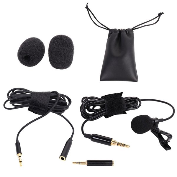 Besegad Lavalier Lapel Condenser Microphone Omnidirectional Mic with Extension Cable for Recording Interview Video Conference
