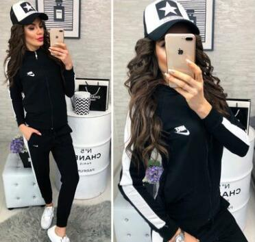 Wholesale 2019 Europe and the United States ladies new sports casual suit comfortable high quality knitted fabrics