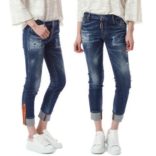 Eau de Javel Design Femmes Jeans Détail Ourlet À Manchettes Détruit Super Skin Crop Fit Whisker Effect Denim