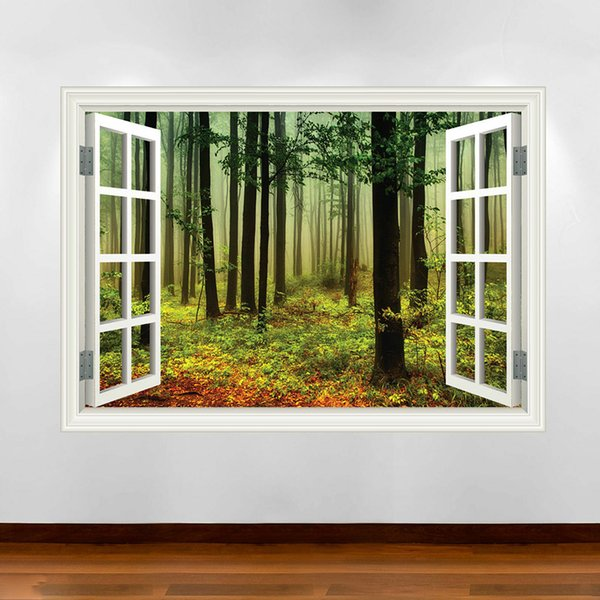 Jungle Walking Window Frame Full Color Wall Stickers Applique Transfer Graphic Vinyl Residential Decoration