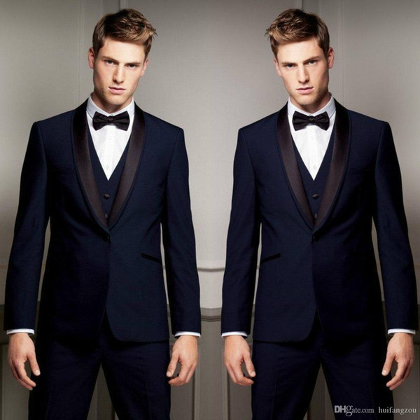 Customized Mens Designer Jackets Suits Black Peaked Lapel Three Pieces Groom Tuxedos for Weddings Best Man Business Mens Formal Wear