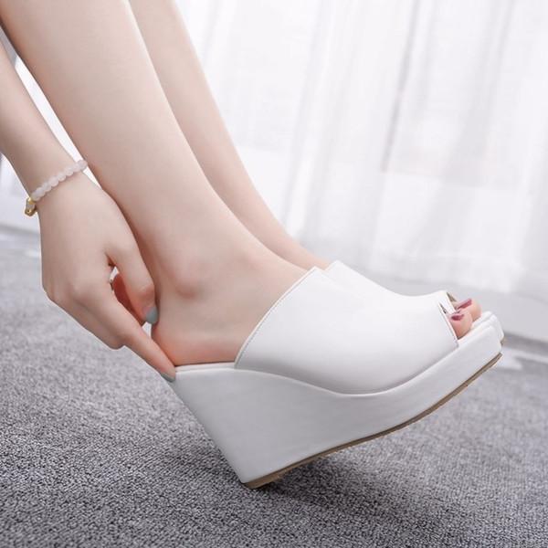 Siyah Beyaz Peep Toe Platform Wedges Sandalet takozları Yüksek Topuklar Terlik Plaj Sandalet Kadınlar Ayakkabı için