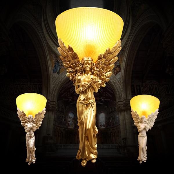 European Lamp Hôtel Wall Luxor Chambre fond Escalier Antique mur Lampe Ange Aisle Salon Creative Art Résine