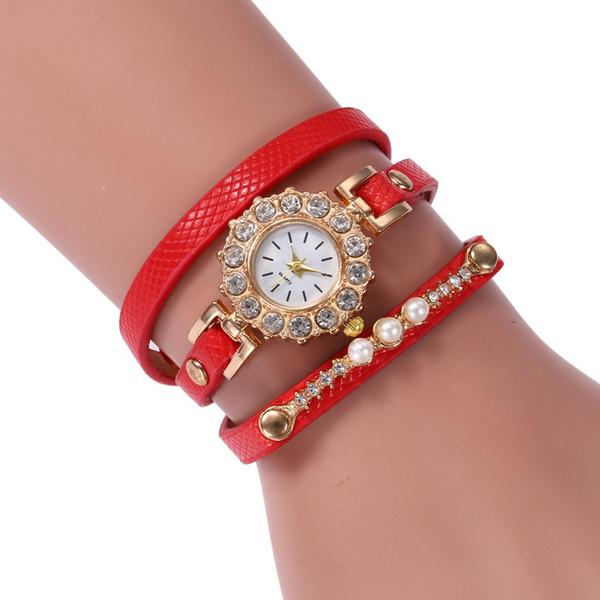 Роскошные PU Кожаный Rhinestone Женщины Модные Часы Браслет Мода Круглый Циферблат Женские Кварцевые Наручные Часы Лучший Подарок