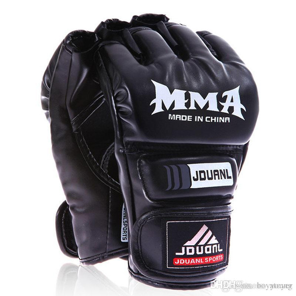 Guantoni mezze dita Kickboxing UFC MMA PU guantoni da combattimento arti marziali combattimento libero guantoni da boxe Kung Fu principiante Muay Thai Training Mitt