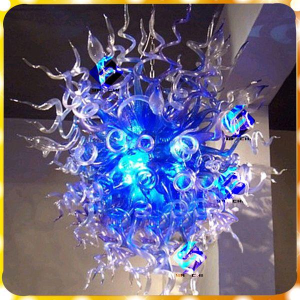 Modern Blue Shape 100% Hand Blown Glass Chandelier Light Art Luxury Murano Design For Livingroom and Bedroom Pendant Lamps
