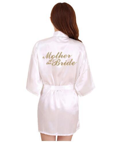 Rb91 Fashion Silk Bride Of Mother Robe With Gold Letter Sexy Women Short Satin Wedding Kimono Sleepwear Get Ready Robes