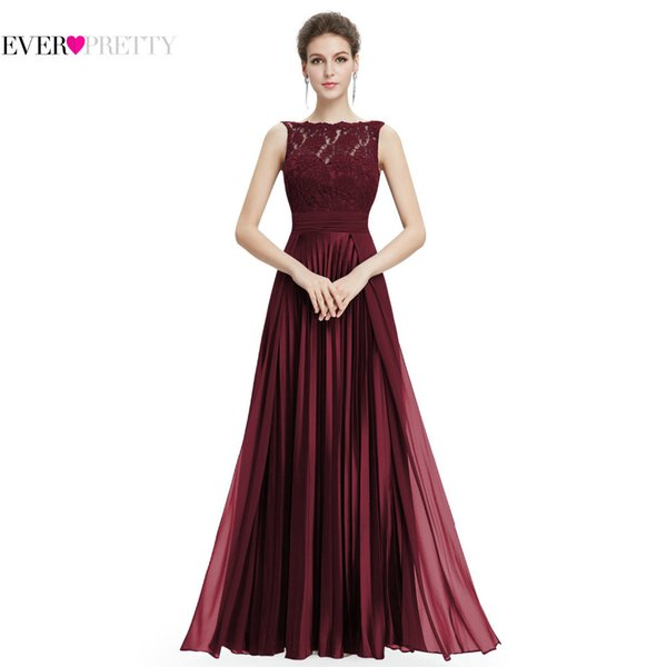 Ever Pretty Evening Dresses Gorgeous Formal Round Neck Lace Long Sexy Red Women Ep08352 Special Occasion Party Dress Q190521