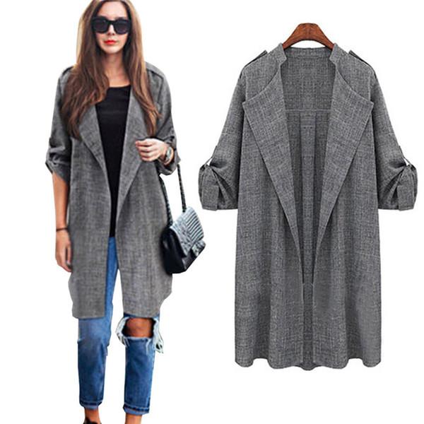 Soprabito da donna cardigan 2019 Giacche femminili autunno moda Cappotto frontale aperto stile giacca per giacche lunghe da donna da ufficio