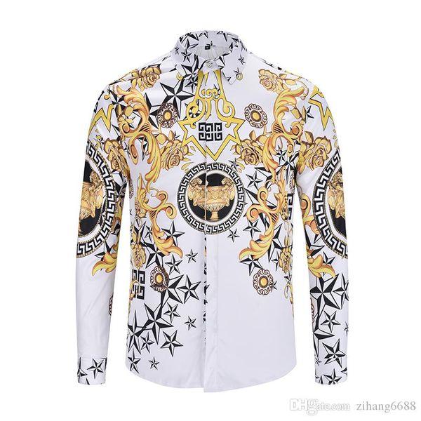 Classic 3D casual medusa shirts Autumn winter Harajuku gold chain/ Rose print Fashion Retro floral sweater Men's long sleeve tops shirt