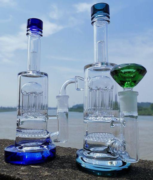 Nuovo bong in vetro hitman con banger al quarzo e grande ciotola base pesante a nido d'ape diffuso Perc a tubo a 8 vie Perc albero a fusa