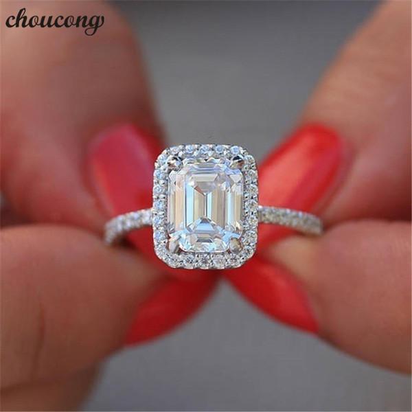 Choucong Charme 925 Sterling Silber Fingerring 2ct Sona 5A Zirkon Engagement Hochzeit Band Ringe für Frauen Brautschmuck