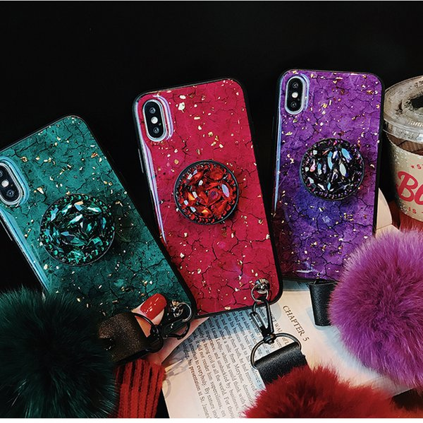 Luxury Colorful Marbled 3d Shiny Diamond Stand Fashion Hair Ball Lanyard Cover Case For Iphone Max Xs Xr 6 7 8 Plus X Phone Case