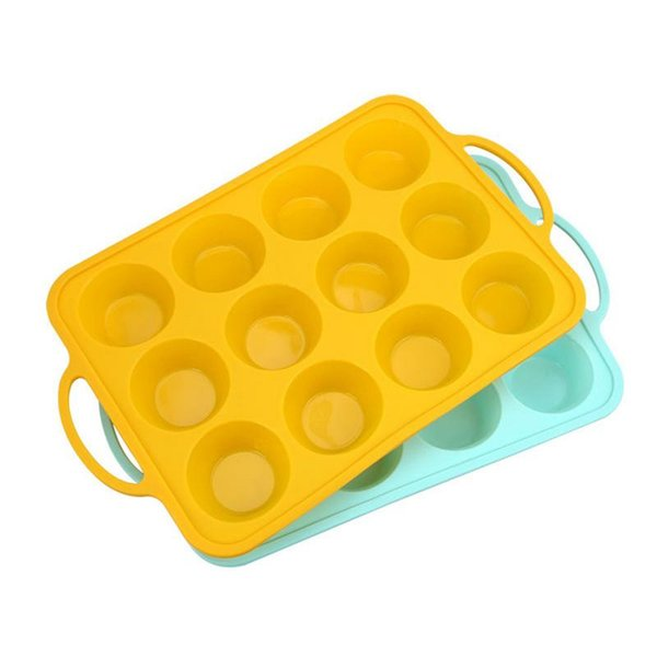 12-cup Silicone Cake Mold Baking Tool with Sturdy Handle Non-stick Mould Baking Pan for Muffin Pie Tarts Cookies Bakeware