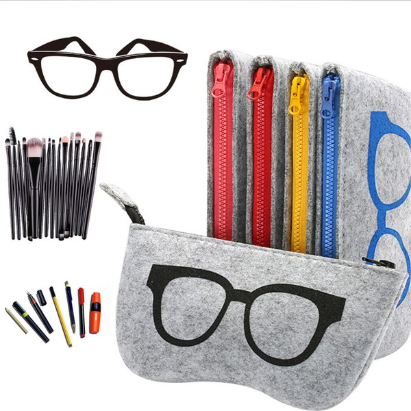 20 Pcs/ Lot Wholesale Wool Felt Cloth Eyeglass Case Women Sunglasses Boxes Multiple Uses Lightweight Portable Soft Glasses Bag C19041201