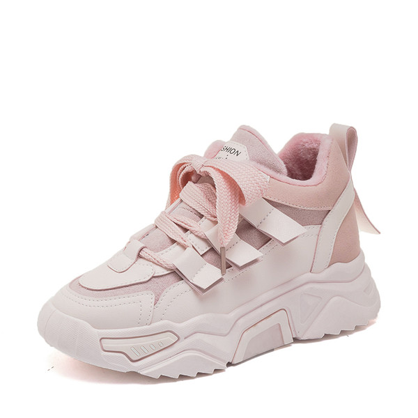 Chaussures d'hiver Sneakers avec fourrure chaude Chunky Chaussures Femme Plateforme Chaussures Femmes Rose Chaussures Plataforma neige Zapato Mujer