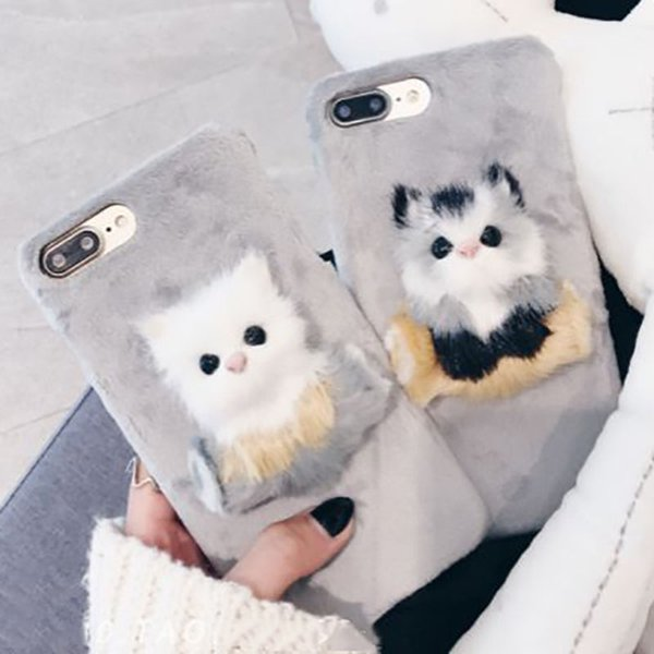 Lovely DIY Cat Furry Warm Phone Cases For iPhone 6 6S Plus 7 7Plus 8Plus Hard PC Plush hair Fur Back Cover for iPhone X