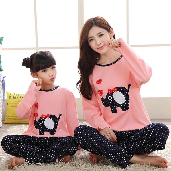 2019 Familia a juego Madre Hija Ropa Pijamas de Navidad Pijama Fille Niños Pijamas Mamá y yo Ropa J190517